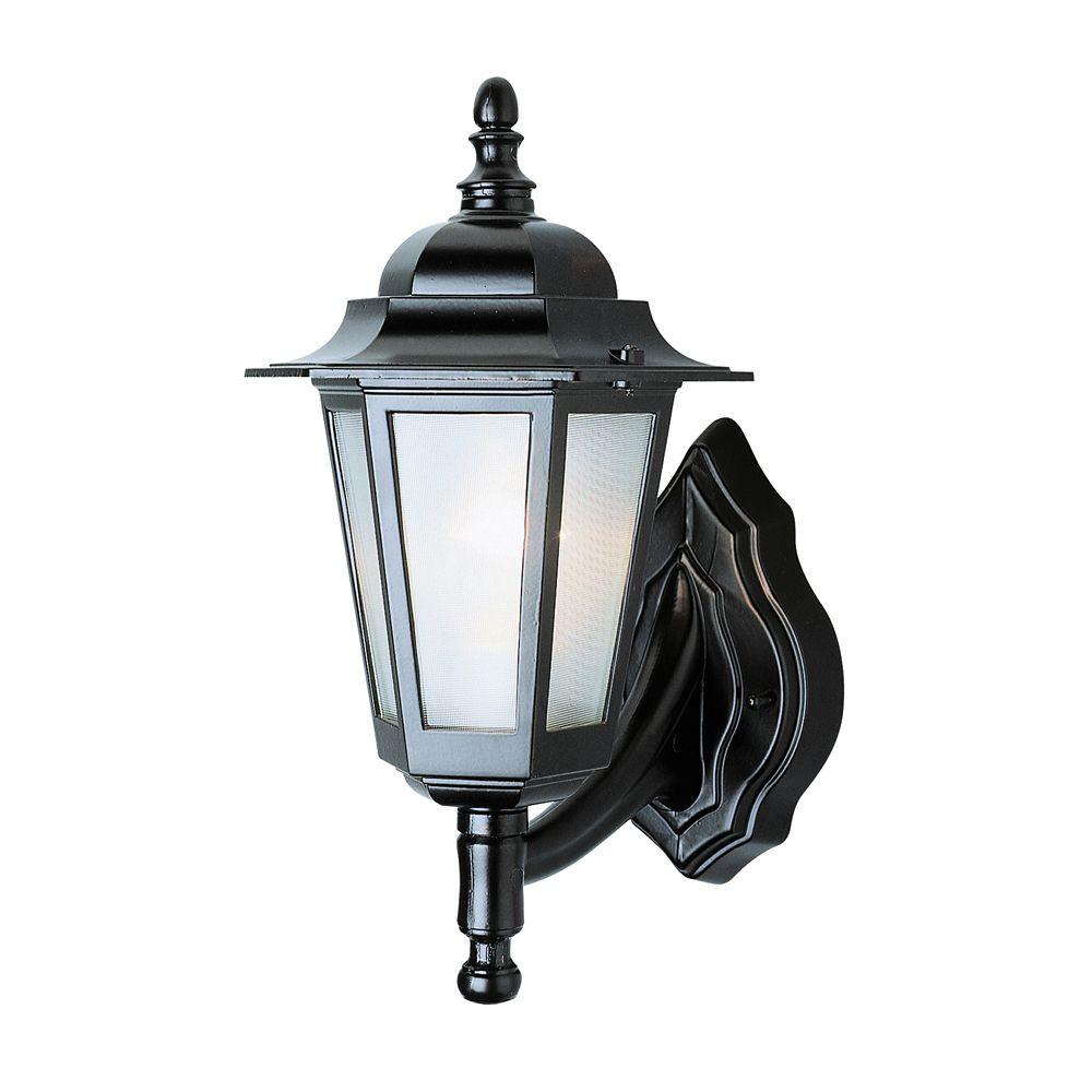 Bel Air Lighting Black with Linen Glass Coach Light