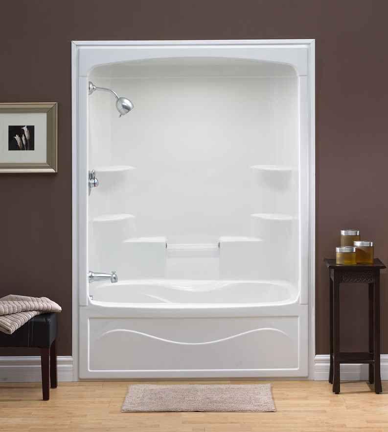 Mirolin Liberty 60-inch x 88-inch x 34-inch 6-shelf Acrylic 1-Piece Left Hand Drain Tub & Shower