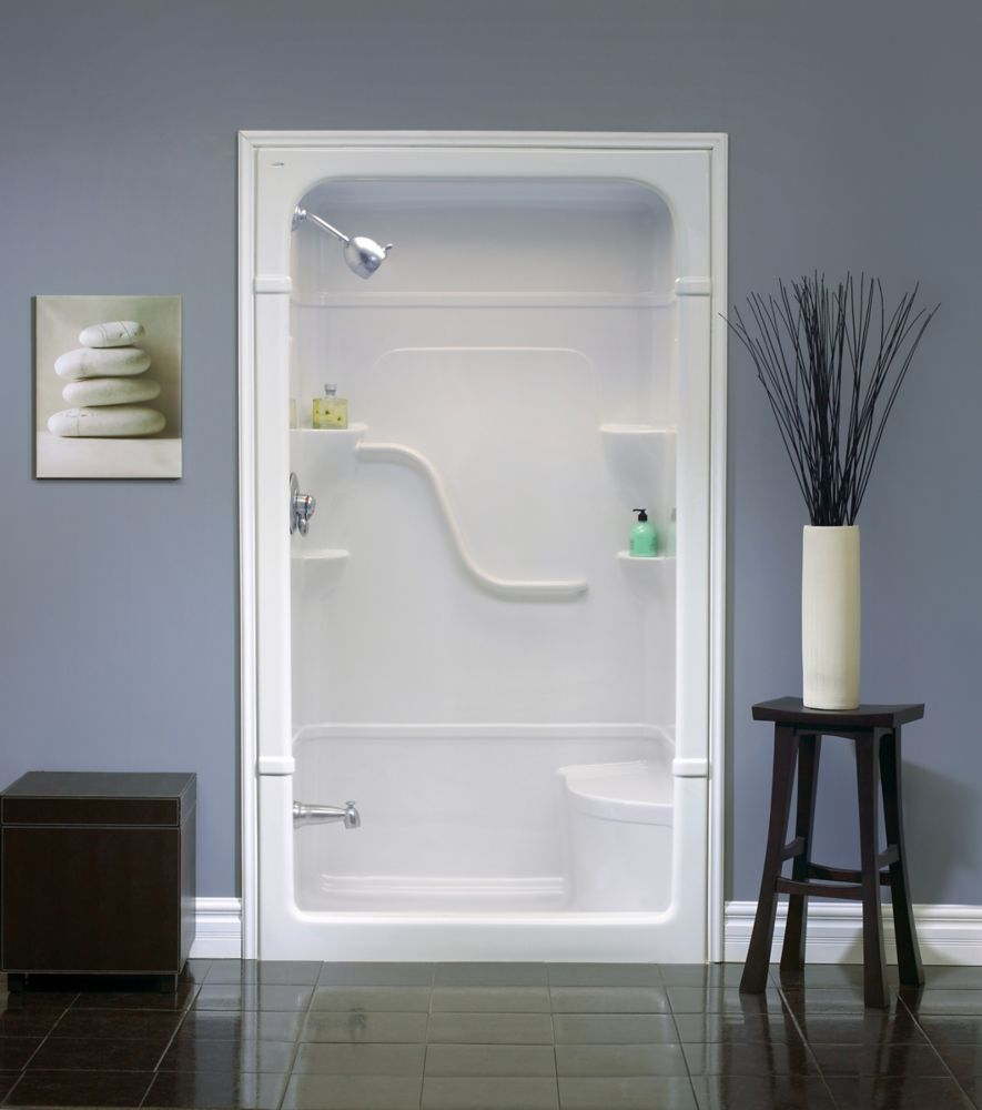 Madison 48 Inch 1-piece Acrylic Shower Stall with seat-Left Hand