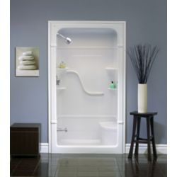 "Mirolin Madison 33.5-Inch D x 50-inch W x 88"" H Rectangle 1-Piece Acrylic Shower Stall with Seat in White"