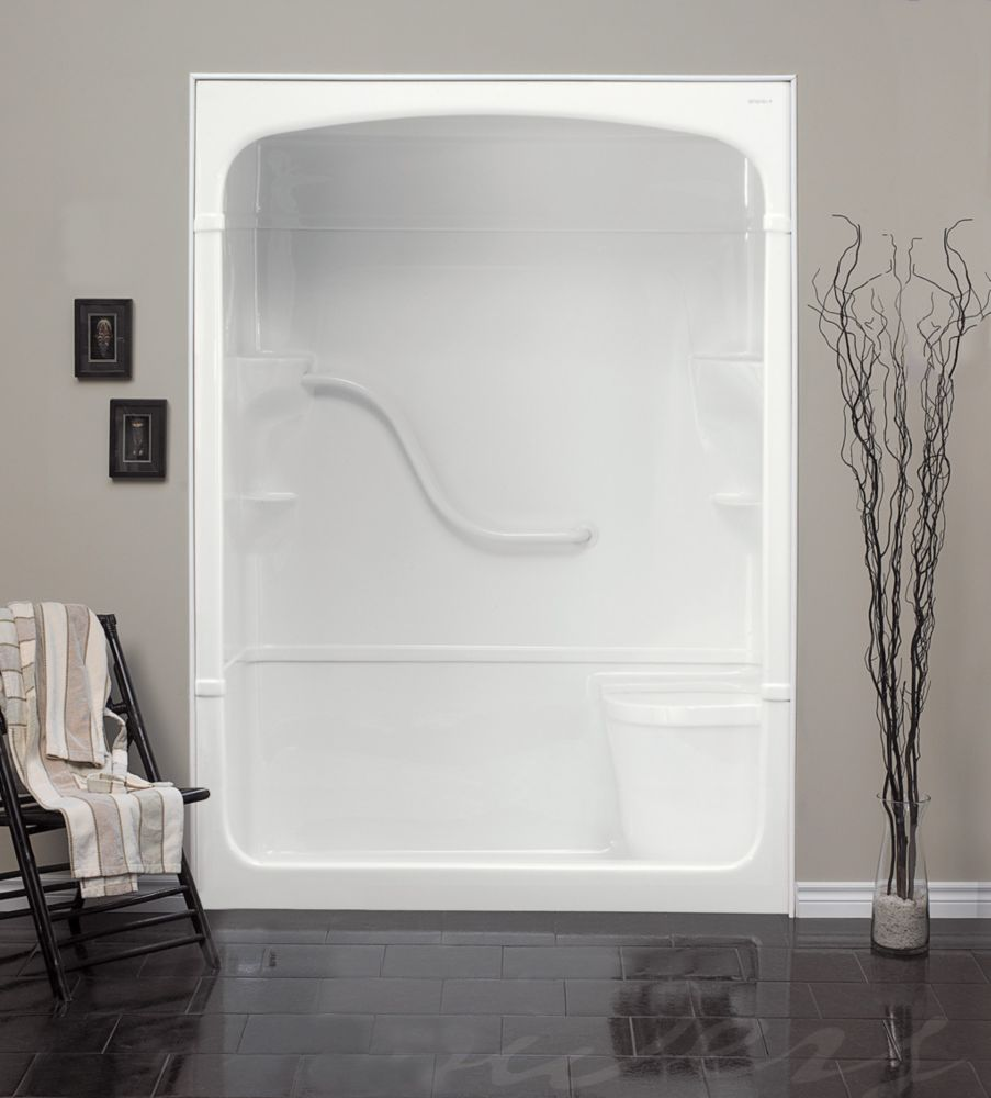 Mirolin Madison 60-Inch 1-Piece Acrylic Shower Stall with Seat | The ...
