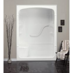 "Mirolin Madison 33.25-Inch D x 60-inch W x 88"" H 1-Piece Acrylic Rectangle Shower Stall with Seat in White"