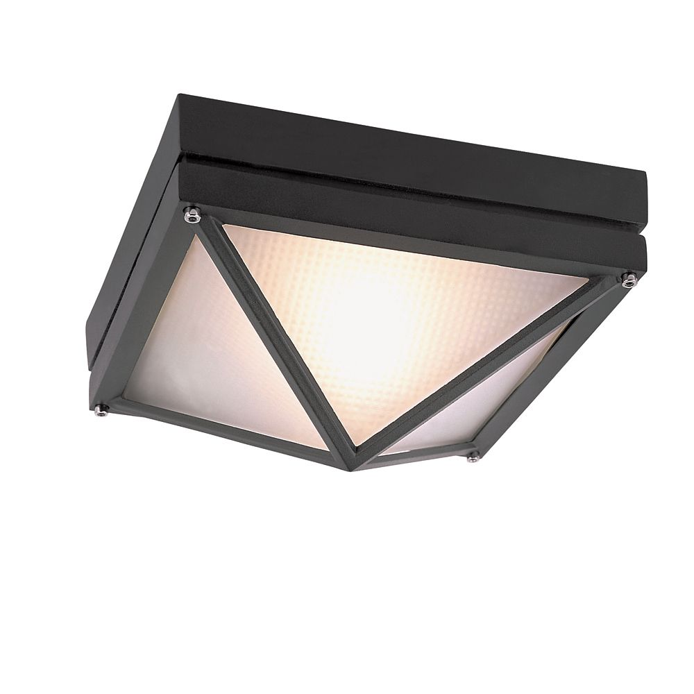 Black Square 9 inch Outdoor Ceiling Light