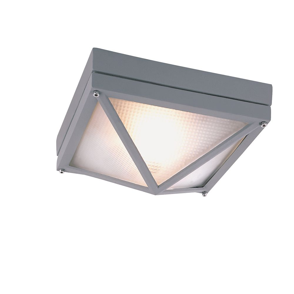 Gray Square 9 inch Outdoor Ceiling Light