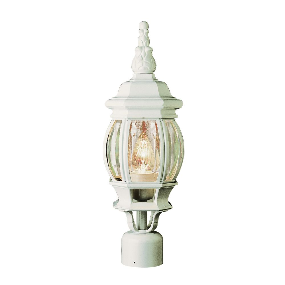 White Leaf Finial 19 inch Post Light