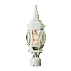 White Leaf Finial 19-inch Post Light