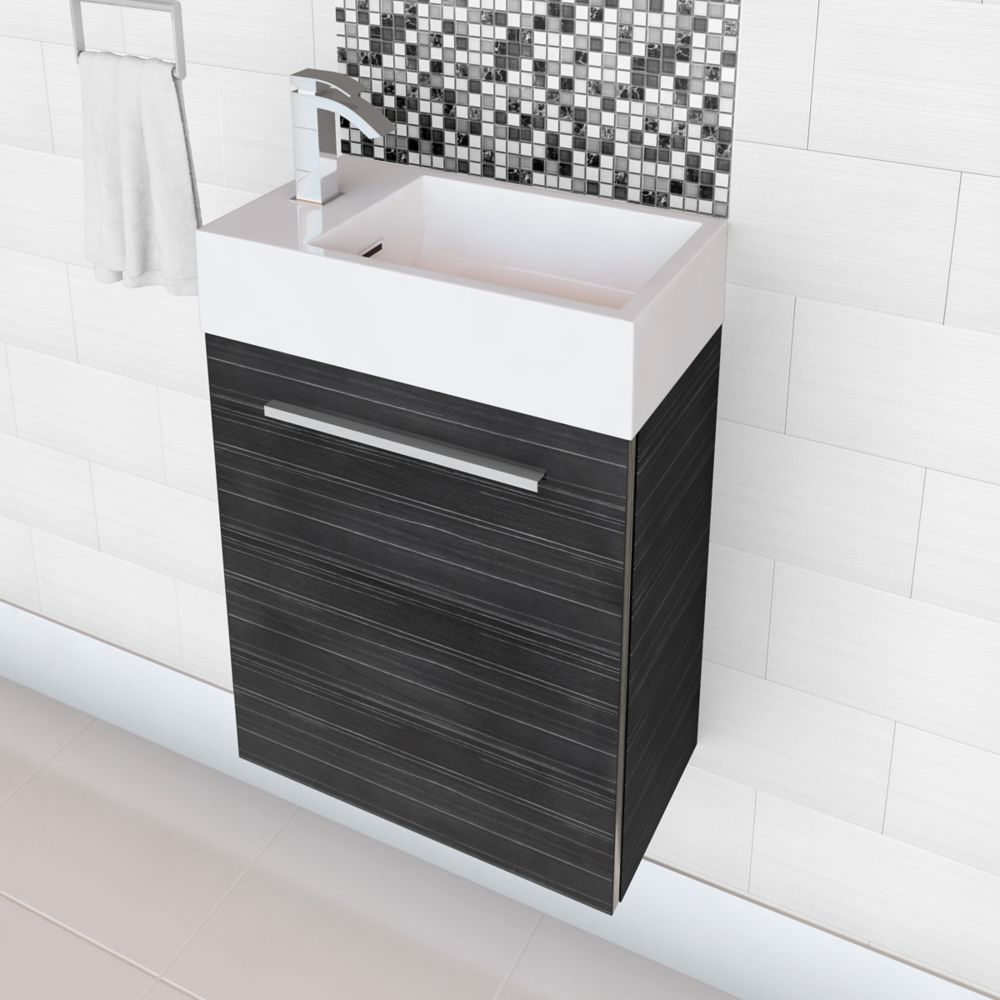 Boutique Collection Vanity in Grey Wood Grain Finish with Cultured Marble Top in White