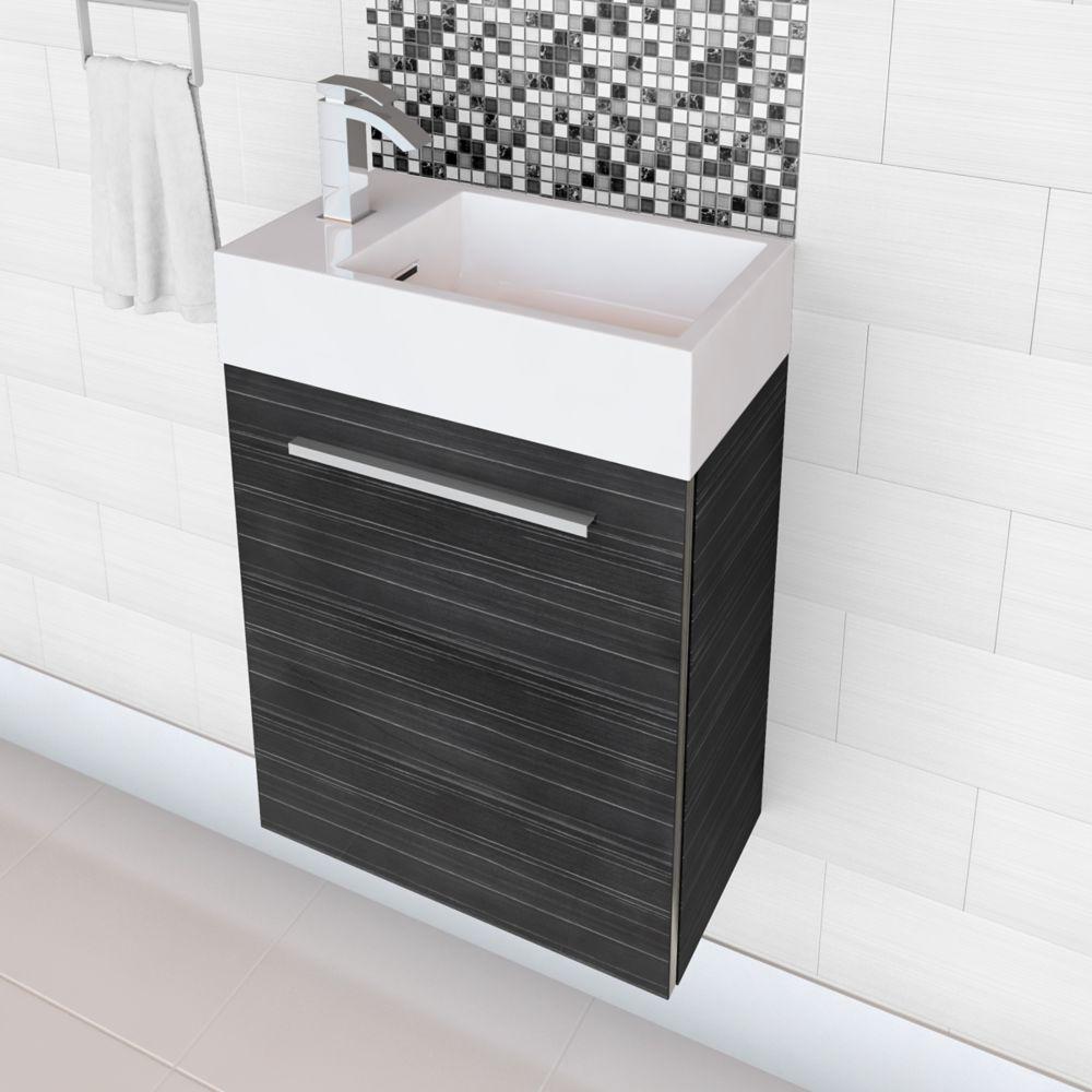 Meuble-lavabo Space Saving très lustré de la collection Boutique - similibois gris (Robinet non i...