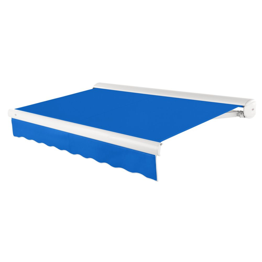 14 Feet VICTORIA Motorozed Retractable Luxury Cassette Awning (10 Feet Projection) (Left Motor) - Bright Blue KWL14-BB Canada Discount