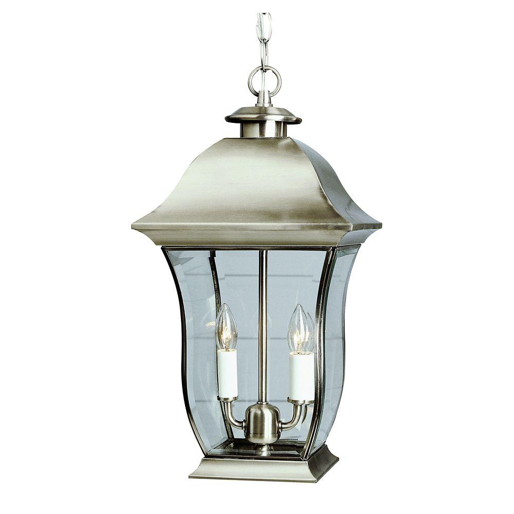 Lampe suspendue, verre bombé,  nickel - grande
