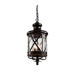 Bel Air Lighting Chandler 3 lumières fini en bronze huilé poncé lanterne pendante