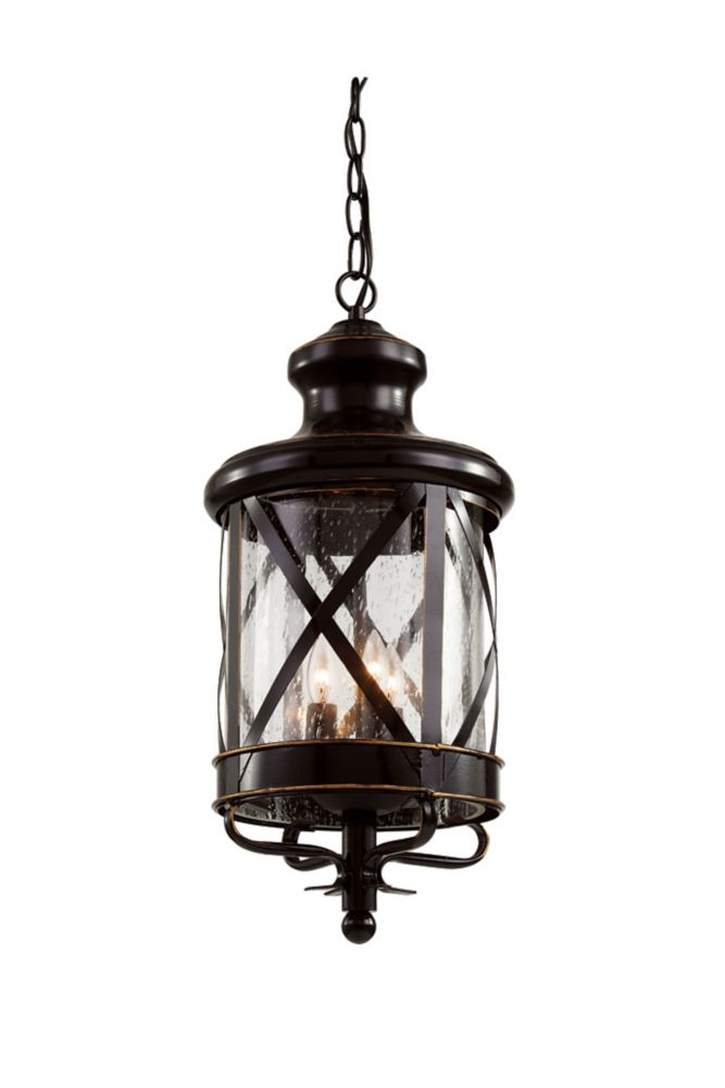 Bel Air Lighting Chandler 3-Light Rubbed Oil Bronze Hanging Lantern