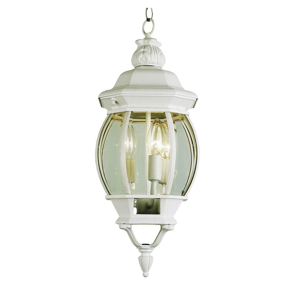 White Leaf Finial 25 inch Hanging Lantern