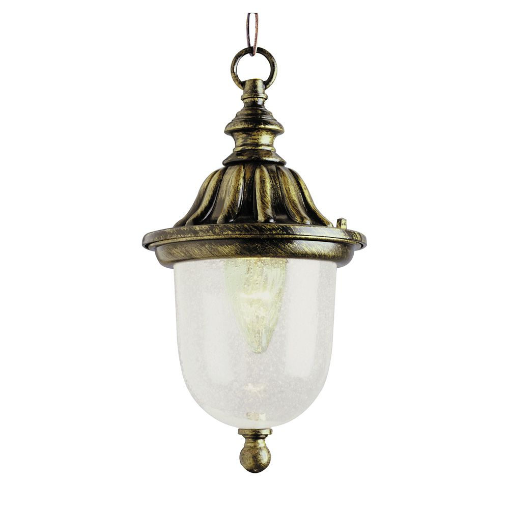 Bel Air Lighting Gilded Black Glass with  Framed Hanging Lantern
