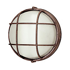 Round Porch Deck and Stairwell Light 10 inch in Rust