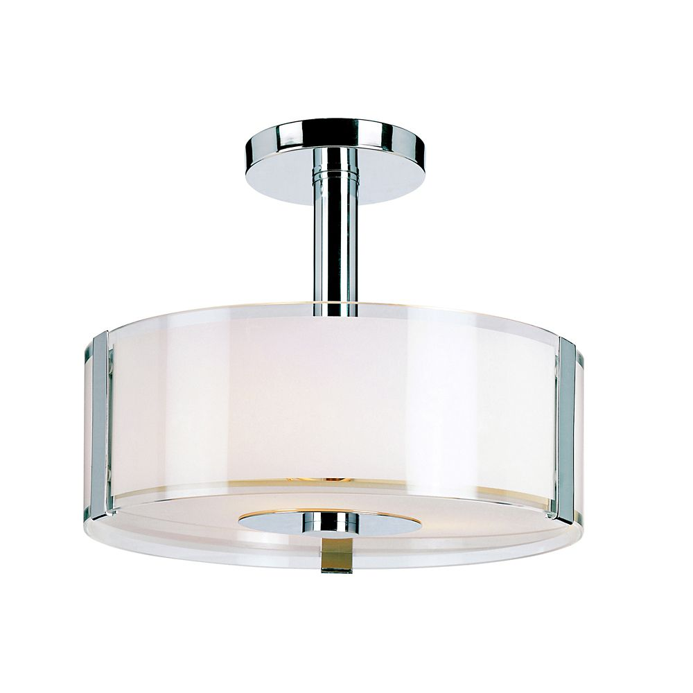 Chrome and Opal 14 inch Ceiling Fixture