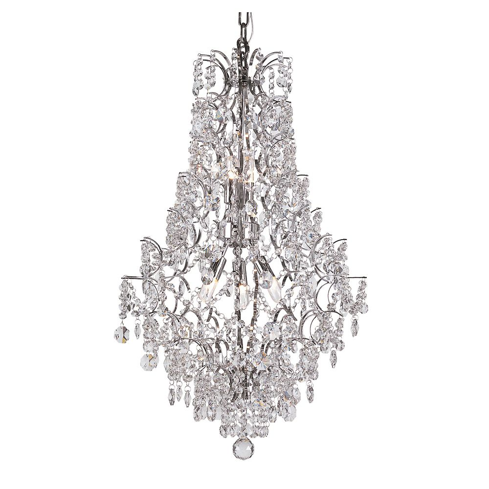 Bel Air Lighting Chrome Stems and Crystal Petals Fall Chandelier
