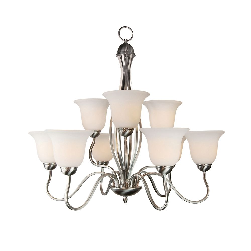 Nickel Hooked 2 Tier Chandelier