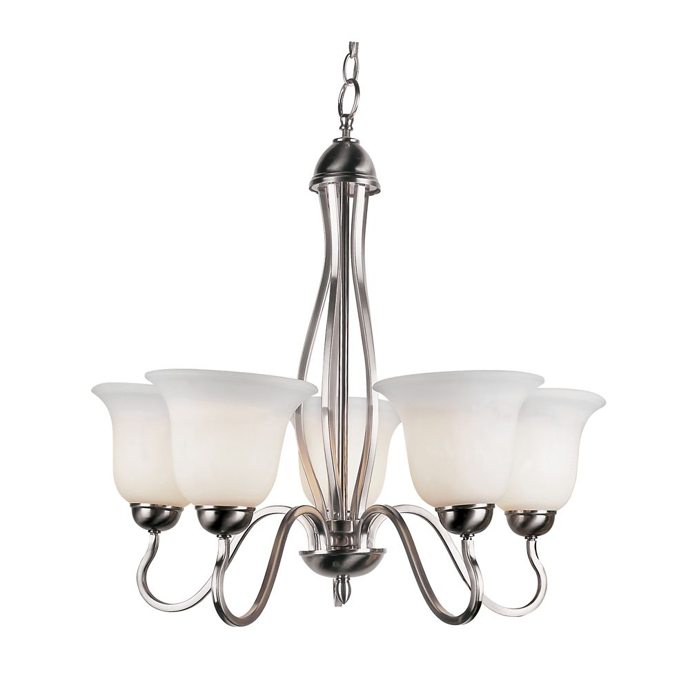 Bel Air Lighting Nickel Hooked 5 Light Chandelier