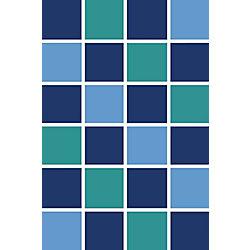 Korhani Square Fun Blue 3 ft. x 4 ft. Rectangular Area Rug