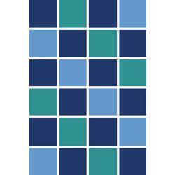 Korhani Carpette, 3 pi x 4 pi, rectangulaire, bleu Square