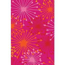 Korhani Carpette, 3 pi x 4 pi, rectangulaire, rose Summer Fireworks