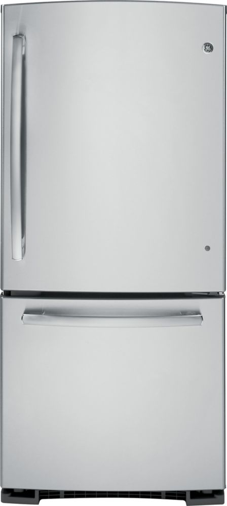 20.2 cu. ft. Refrigerator with Bottom Mount Freezer and Pull-Out Drawer in Stainless Steel