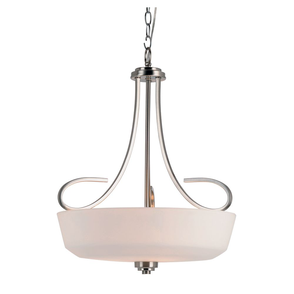 Nickel Looped and White Frosted Hanging Pendant