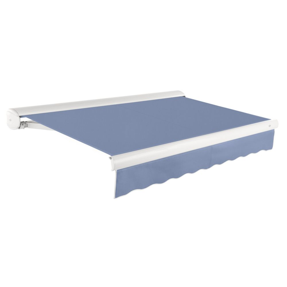 Victoria 16 ft. Manual Retractable Luxury Cassette Awning (10 ft. Projection) in Dusty Blue