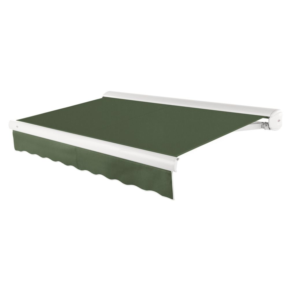 Victoria 24 ft. Motorized Retractable Luxury Cassette Awning (10 ft. Projection) (Left Motor) in Olive