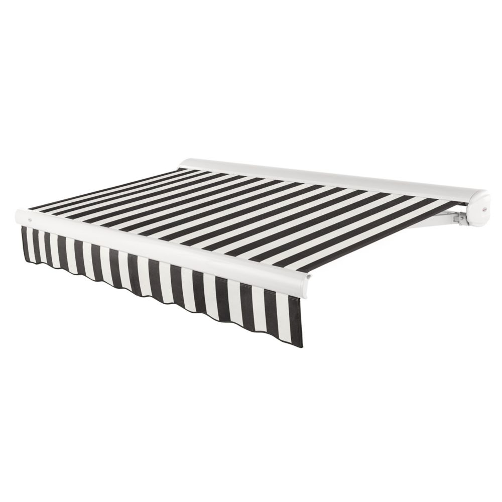 Victoria 12 ft. Motorized Retractable Luxury Cassette Awning (10 ft. Projection) (Left Motor) in Black/White Stripe