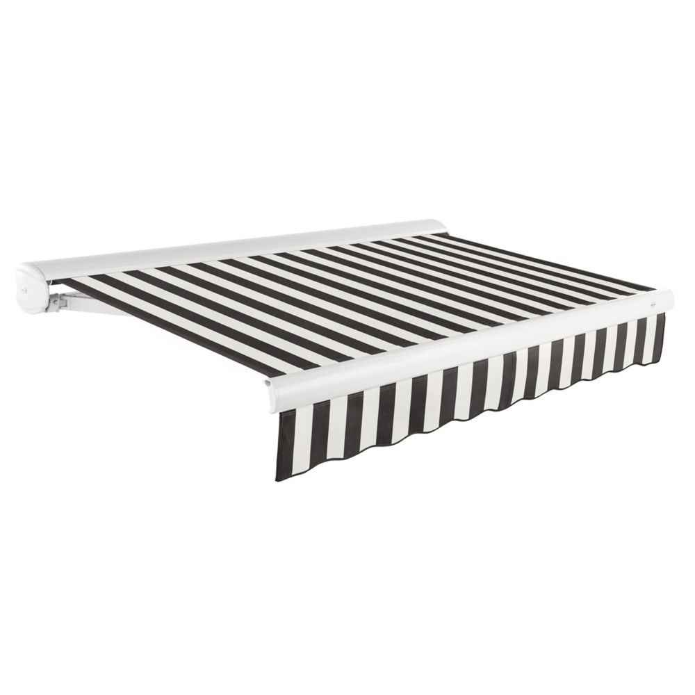 Victoria 12 ft. Motorized Retractable Luxury Cassette Awning (10 ft. Projection) (Right Motor) in Black/White Stripe