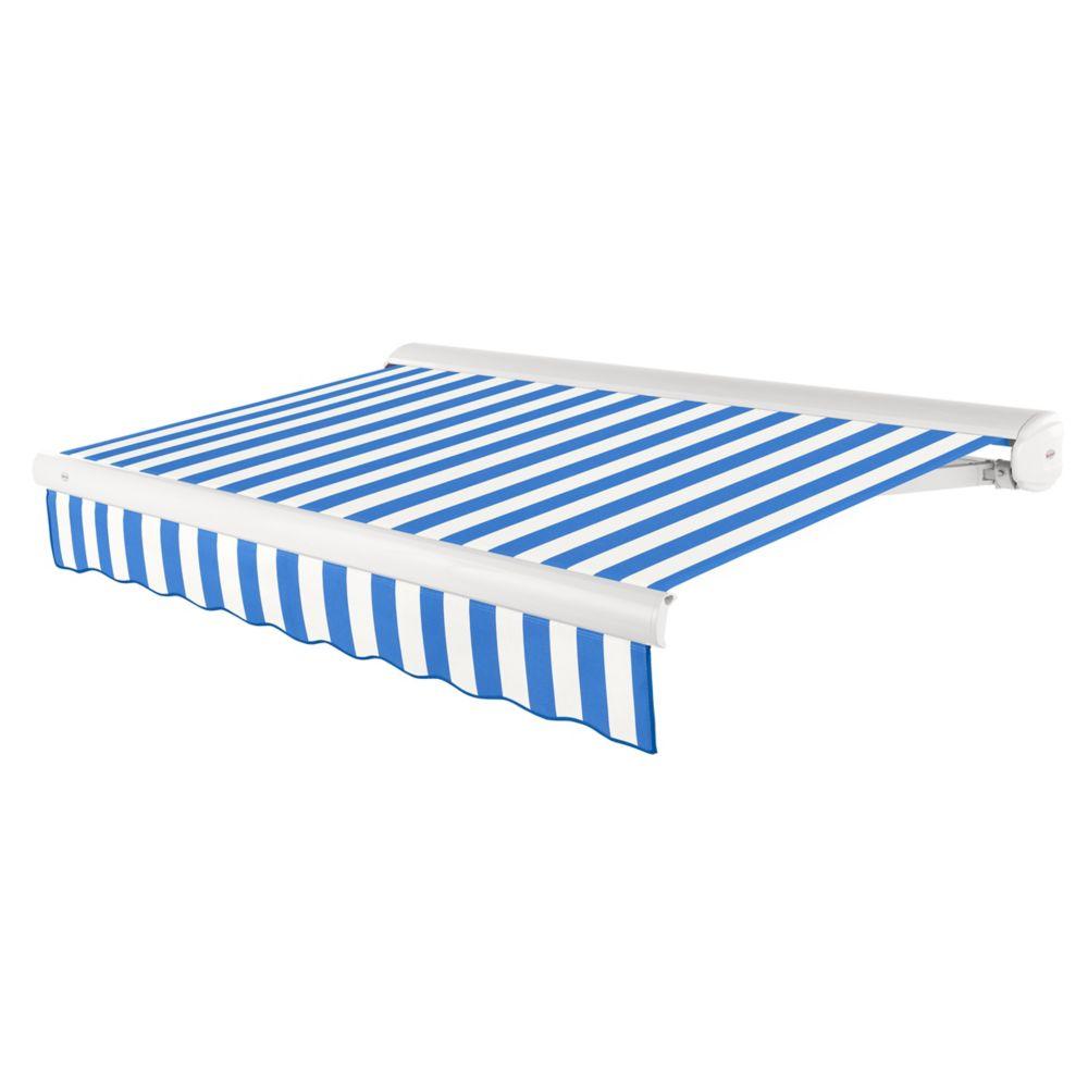 Beauty-Mark  7,32m (24pi) VICTORIA   Auvent rétractable motorisé   (Projection 3,05m [10pi]) (moteur gauche)  - bleu vif / blanc raies