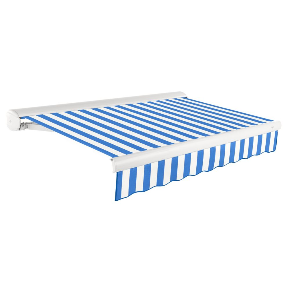 Victoria 10 ft. Motorized Retractable Luxury Cassette Awning (8 ft. Projection) (Right Motor) in Bright Blue/White Stripe