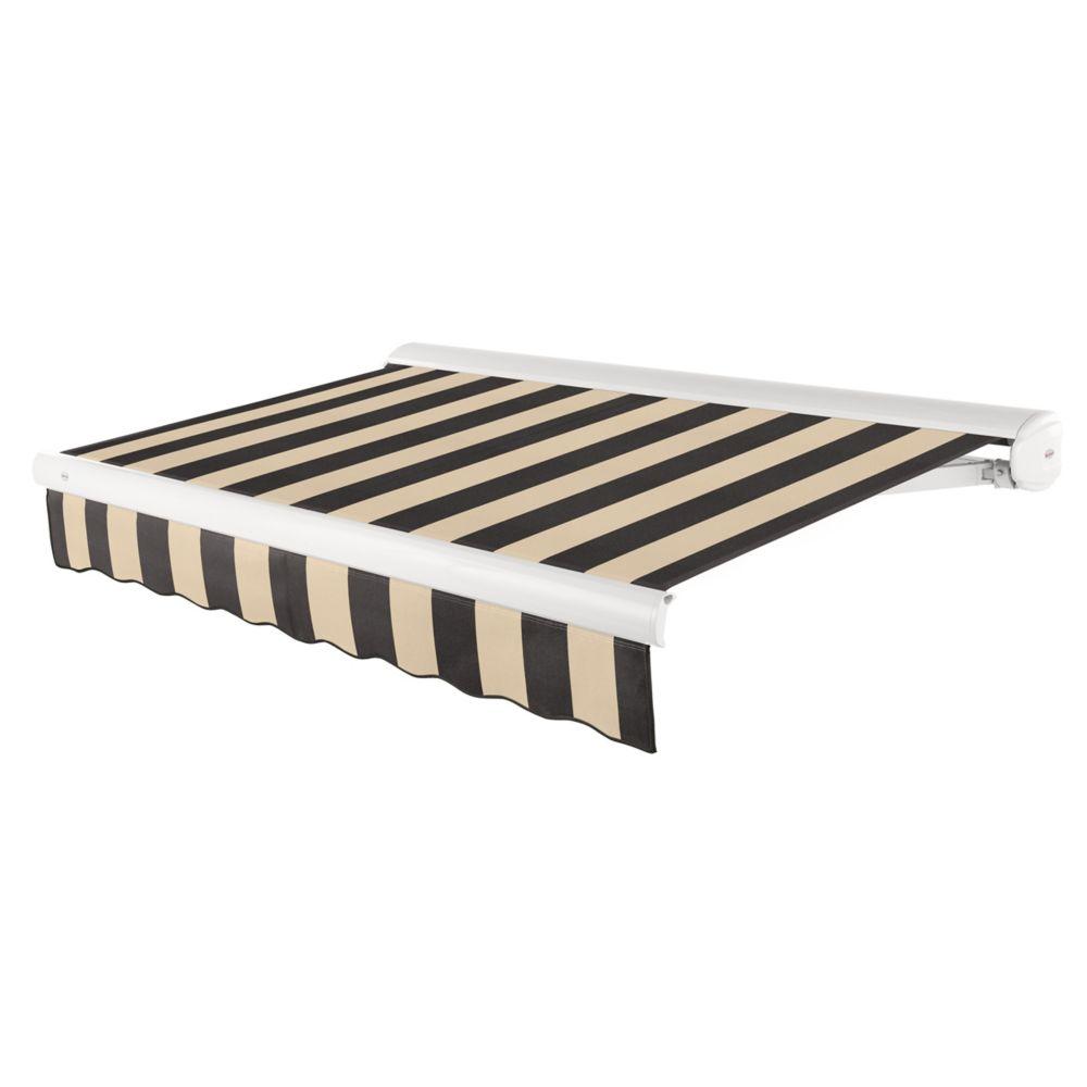Beauty-Mark  7,32m (24pi) VICTORIA   Auvent rétractable motorisé   (Projection 3,05m [10pi]) (moteur gauche)  - noir / beige raies