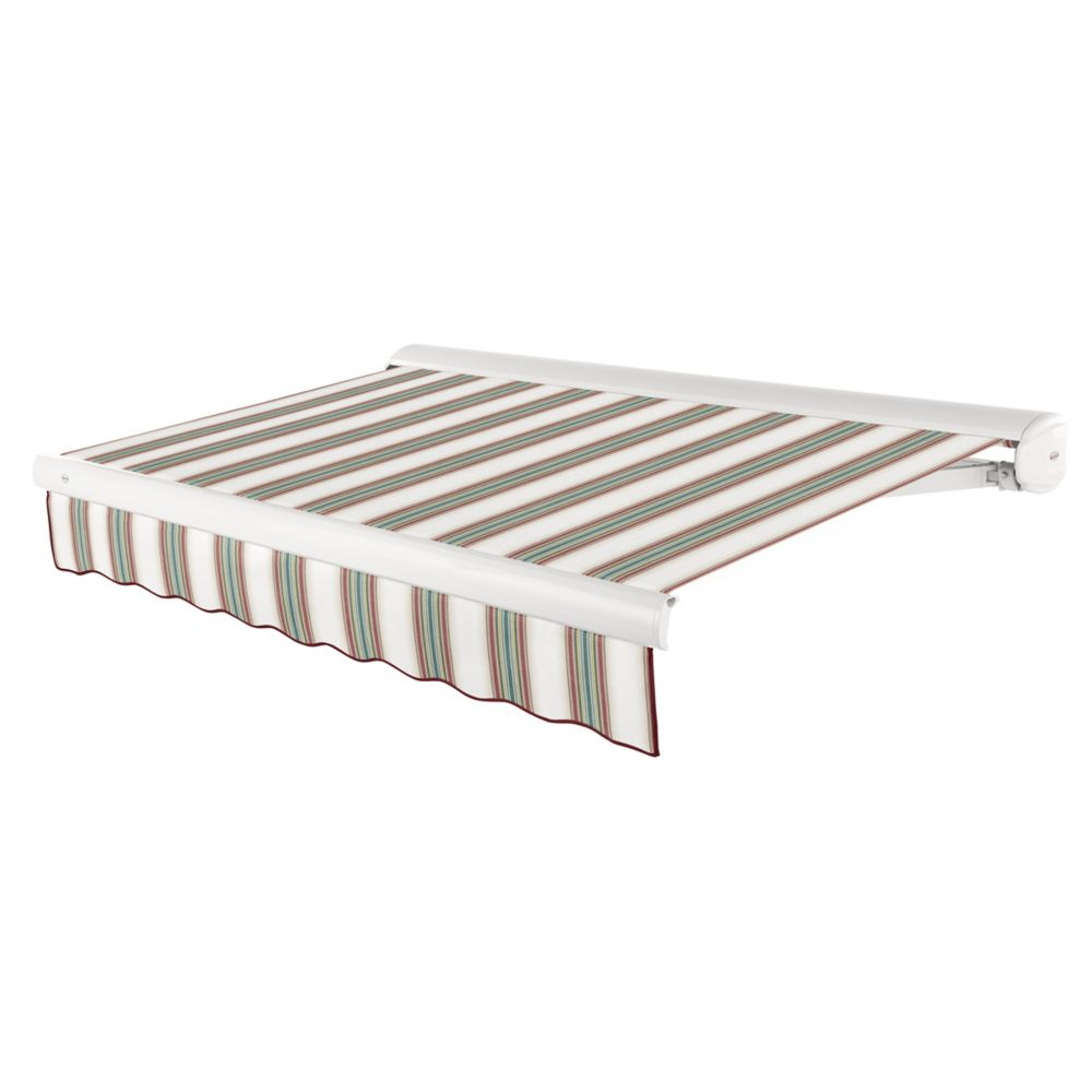 Victoria 18 ft. Motorized Retractable Luxury Cassette Awning (10 ft. Projection) (Left Motor) in Burgundy/Forest/Tan/White Stripe