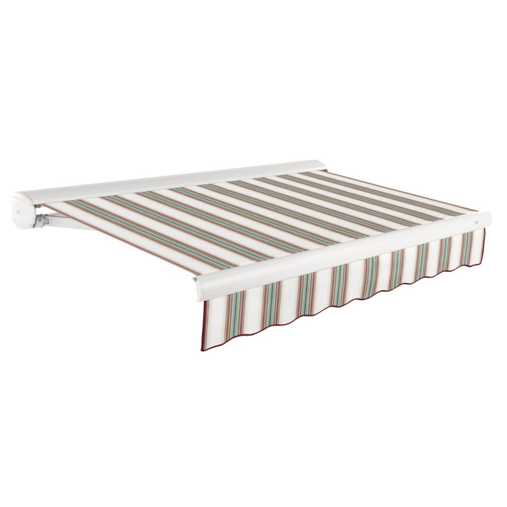 Victoria 14 ft. Motorized Retractable Luxury Cassette Awning (10 ft. Projection) (Right Motor) in Burgundy/Forest/Tan/White Stripe