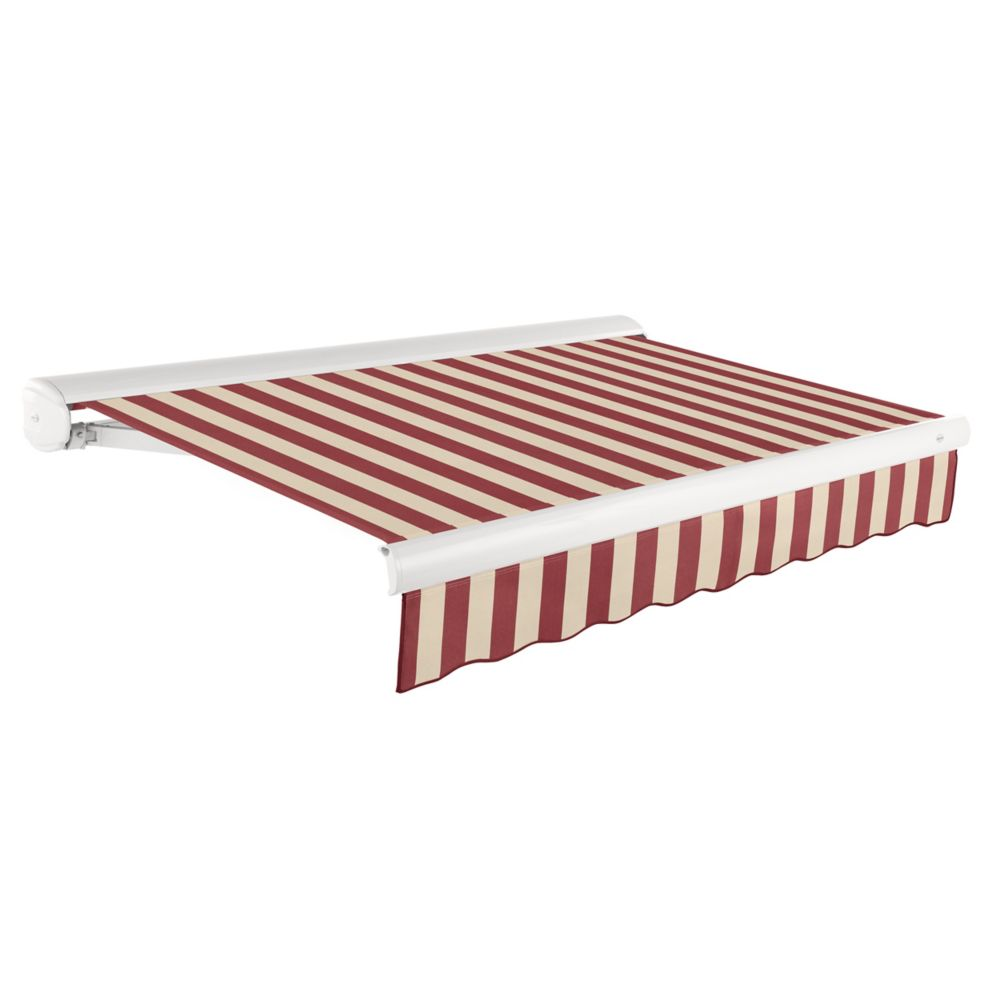 Victoria 18 ft. Motorized Retractable Luxury Cassette Awning (10 ft. Projection) (Right Motor) in Burgundy/Tan Stripe