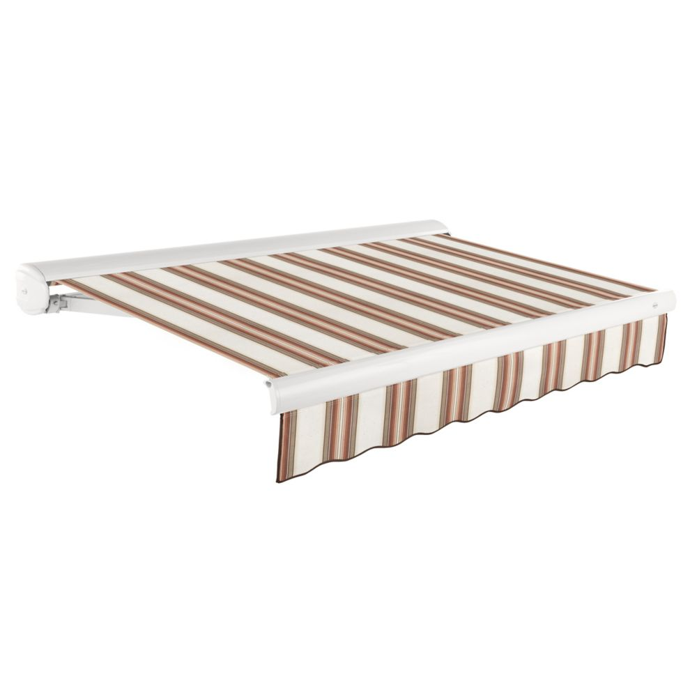 8 Feet VICTORIA Motorozed Retractable Luxury Cassette Awning (7 Feet Projection) (Right Motor) - Brown/Terra Cotta Multi Stripe KWR8-BRTER in Canada