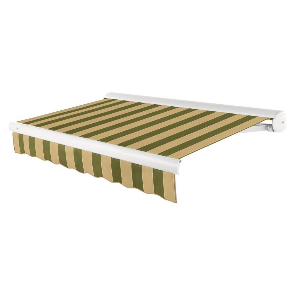 Beauty-Mark  7,32m (24pi) VICTORIA   Auvent rétractable motorisé   (Projection 3,05m [10pi]) (moteur gauche)  - Olive / tan raies