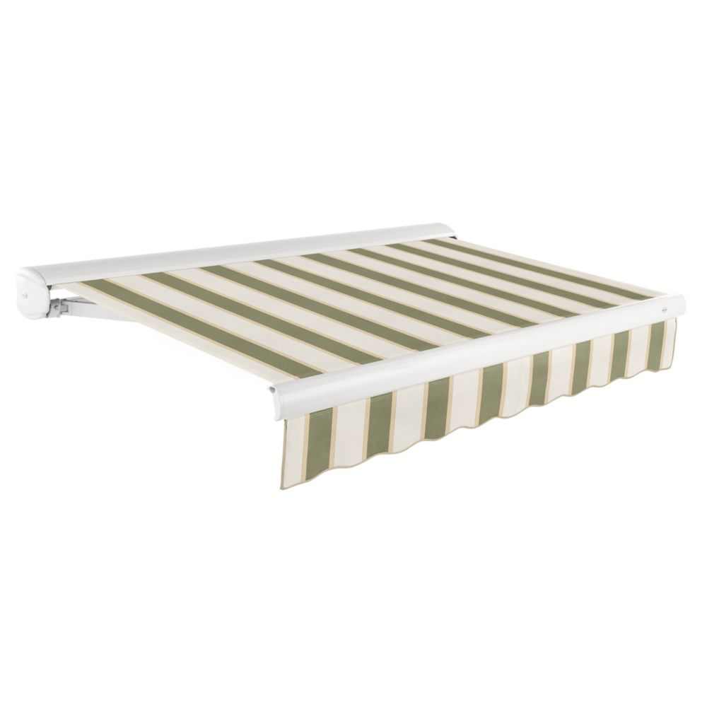 24 Feet VICTORIA  Manual Retractable Luxury Cassette Awning (10 Feet Projection)- Sage/Linen/Crea...