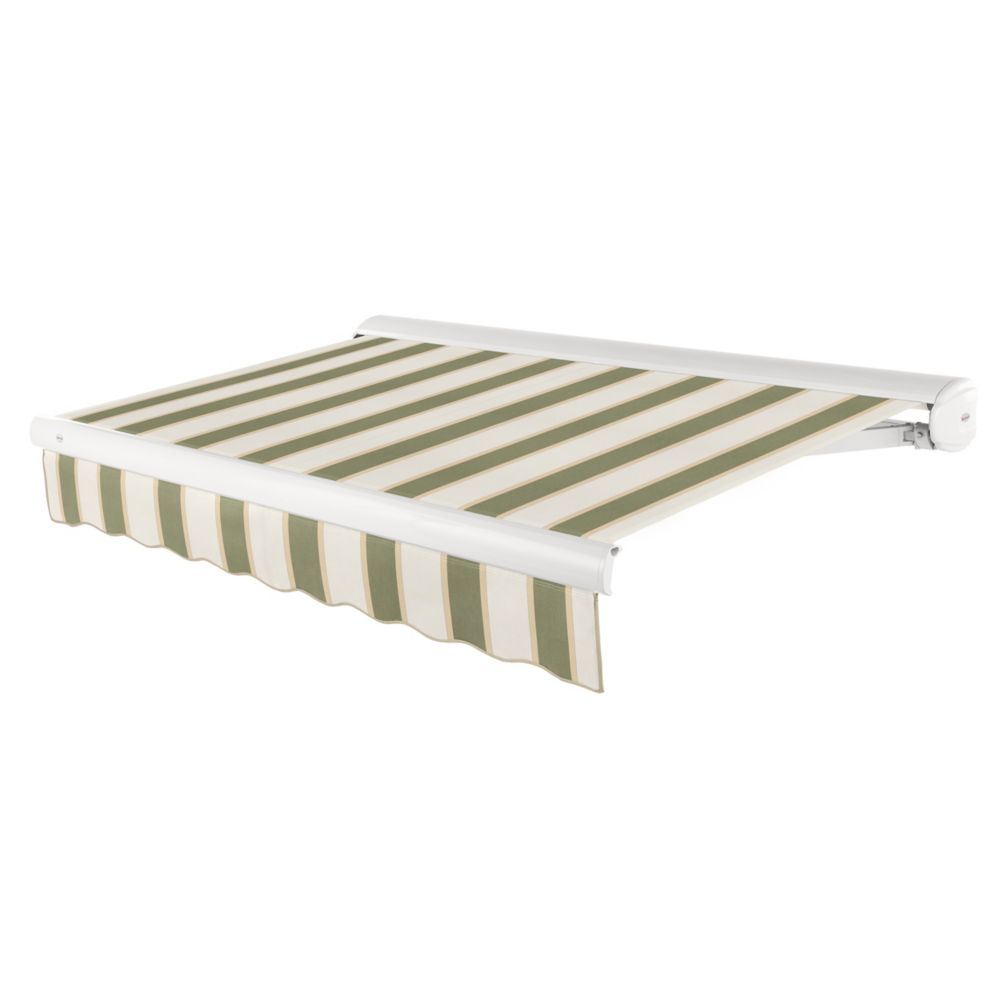 Victoria 12 ft. Motorized Retractable Luxury Cassette Awning (10 ft. Projection) (Left Motor) in Sage/Linen/Cream Stripe
