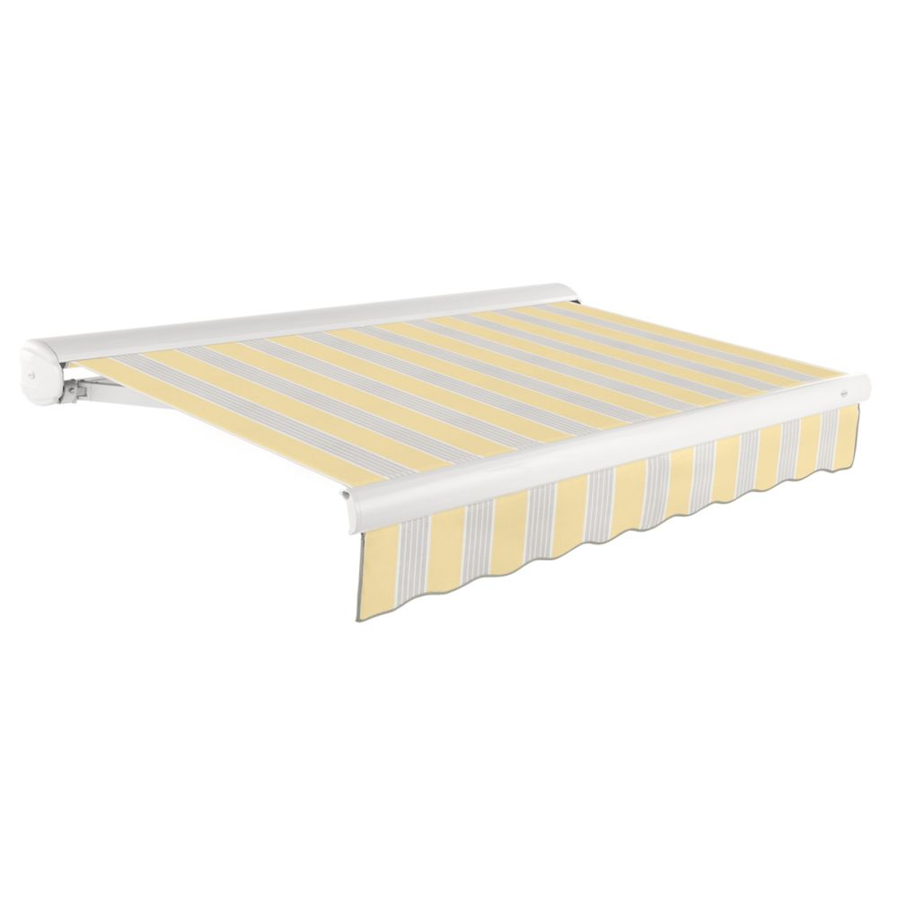 Victoria 14 ft. Motorized Retractable Luxury Cassette Awning (10 ft. Projection) (Right Motor) in Light Yellow / Gray Stripes