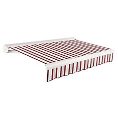 Victoria 12 ft. Manual Retractable Luxury Cassette Awning (10 ft. Projection) in Burgundy/Gray/White Multi-Stripe