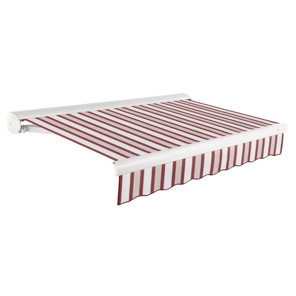 24 Feet VICTORIA  Manual Retractable Luxury Cassette Awning (10 Feet Projection) - Burgundy/Gray/...