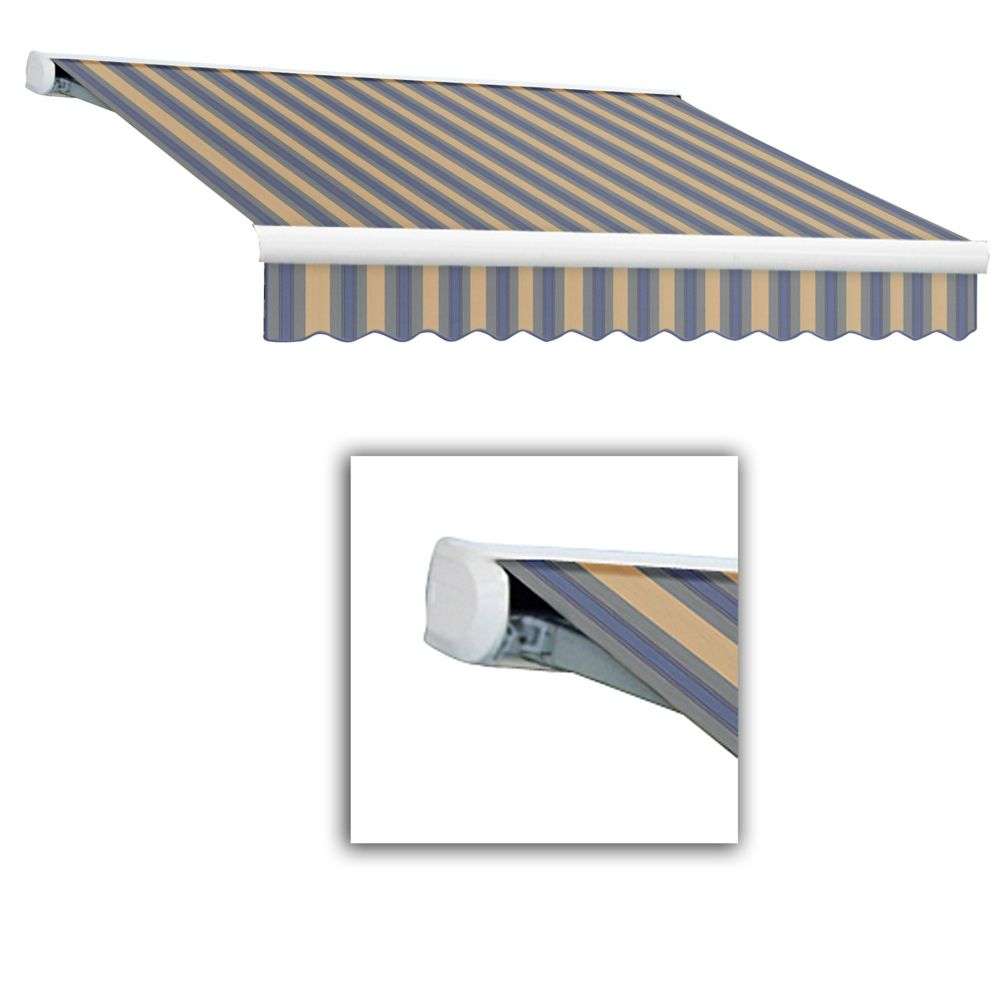 8 Feet VICTORIA  Manual Retractable Luxury Cassette Awning  (7 Feet Projection) - Dusty Blue/Tan ...