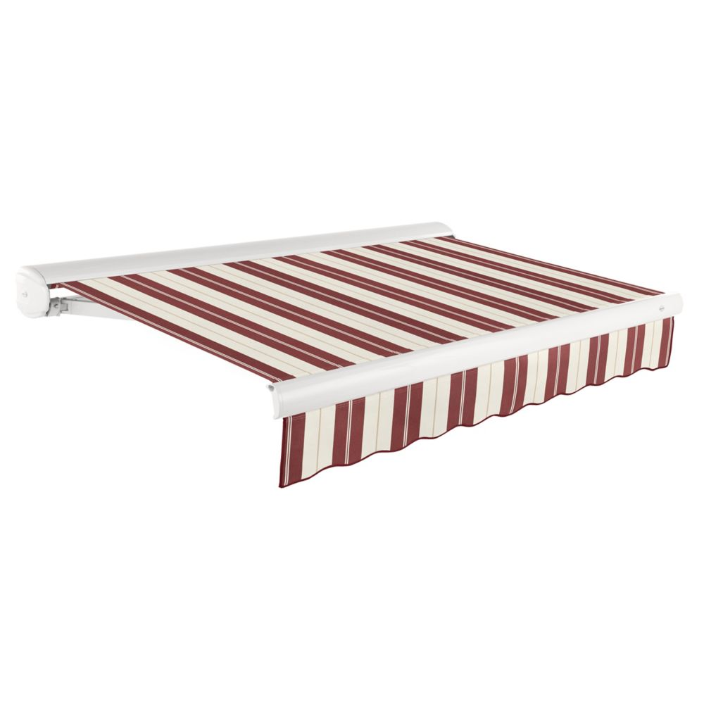 Victoria 10 ft. Motorized Retractable Luxury Cassette Awning (8 ft. Projection) (Right Motor) in Burgundy/Tan Wide Stripe