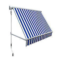 Mesa 7 ft. Retractable Window Awning (24-inch Projection) in Bright Blue/White Stripe