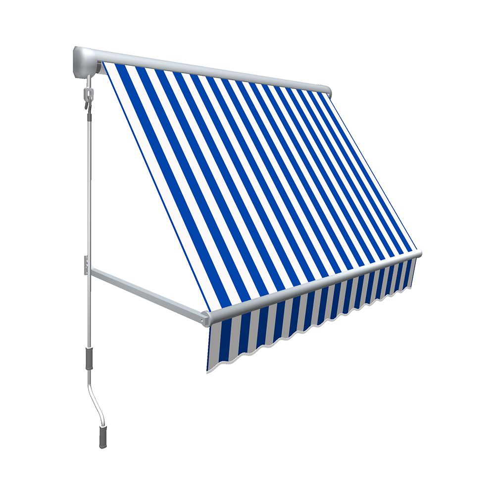 "10 Feet MESA Window Retractable Awning 24"" height x 24"" projection - Bright Blue/White Stripe"