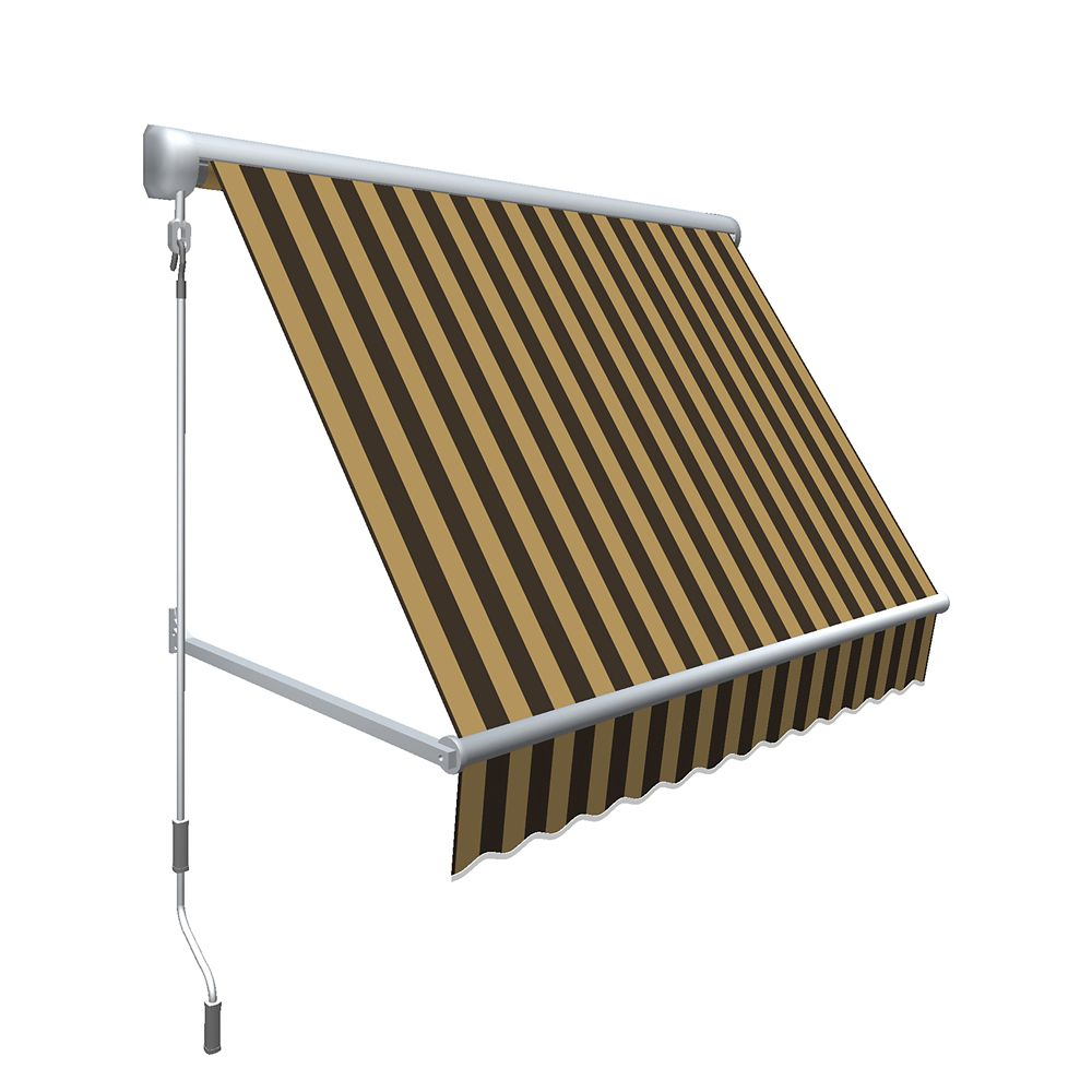 """4 Feet MESA Window Retractable Awning 24"""" height x 24"""" projection - Brown/Tan Stripe"""